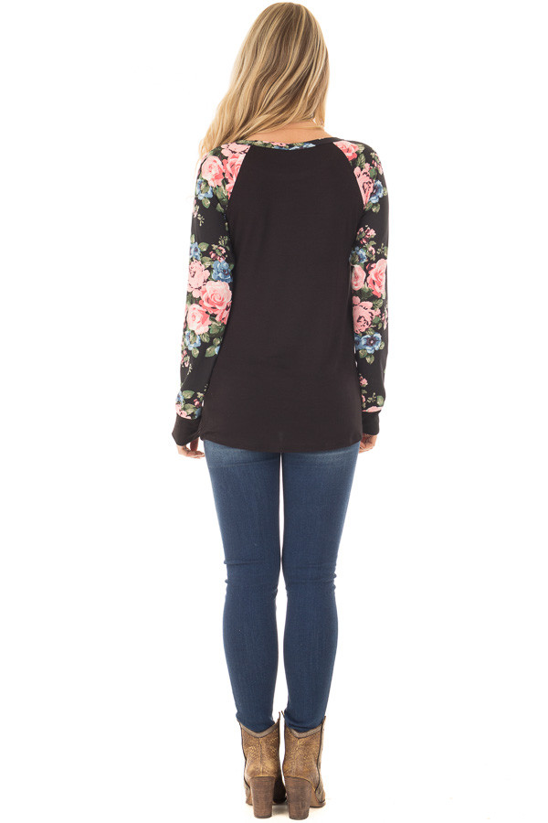 Black Knit Tee with Blush Floral Print Sleeves back full body