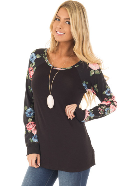 Black Knit Tee with Blush Floral Print Sleeves front closeup