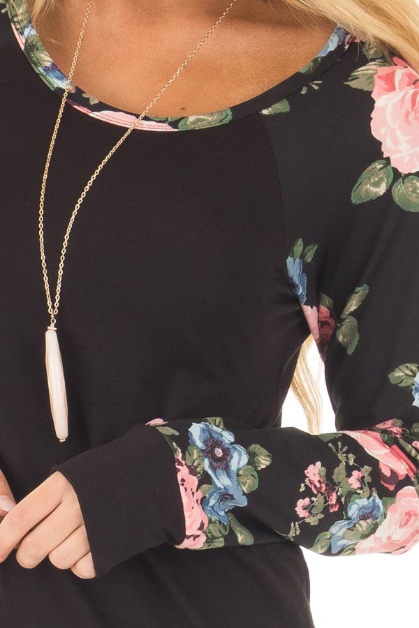 Black Knit Tee with Blush Floral Print Sleeves front detail