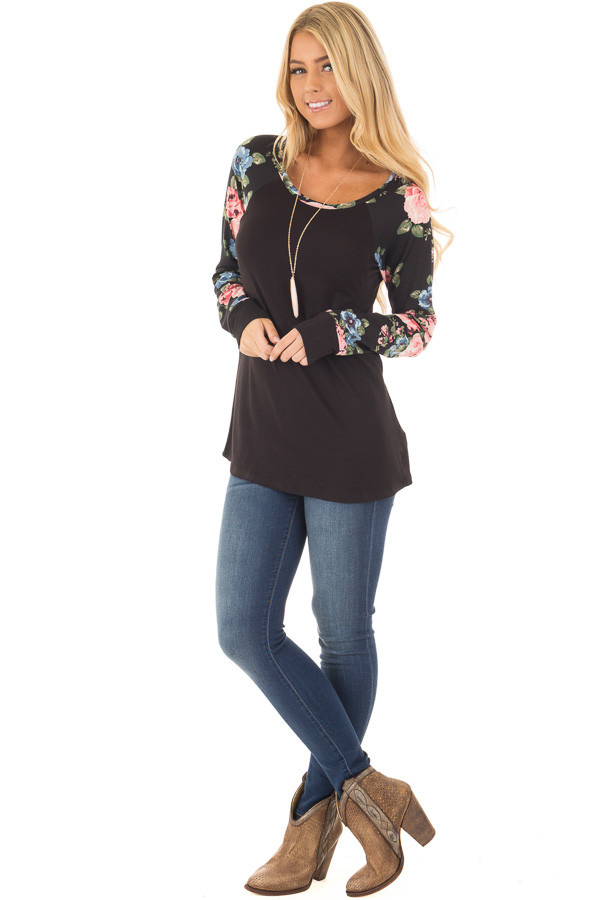 Black Knit Tee with Blush Floral Print Sleeves front full body