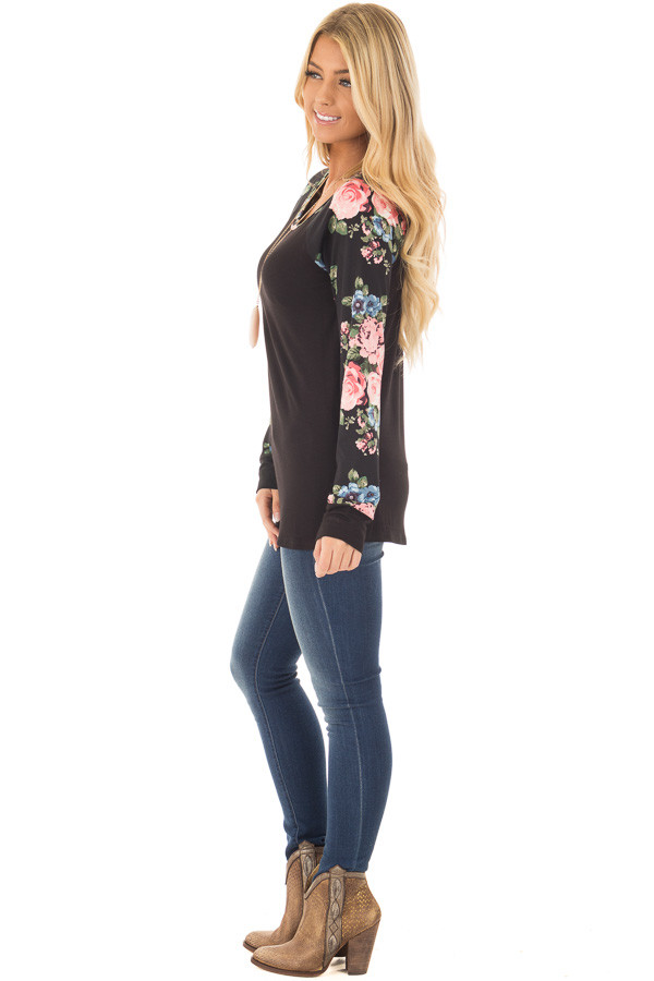 Black Knit Tee with Blush Floral Print Sleeves side full body
