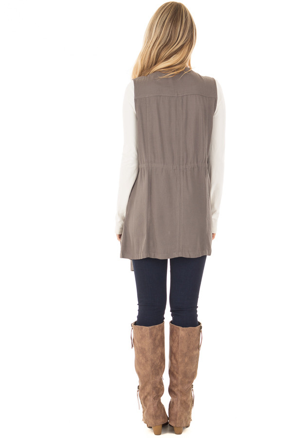 Olive Long Vest with Pockets back full body