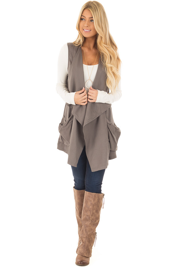 Olive Long Vest with Pockets front full body