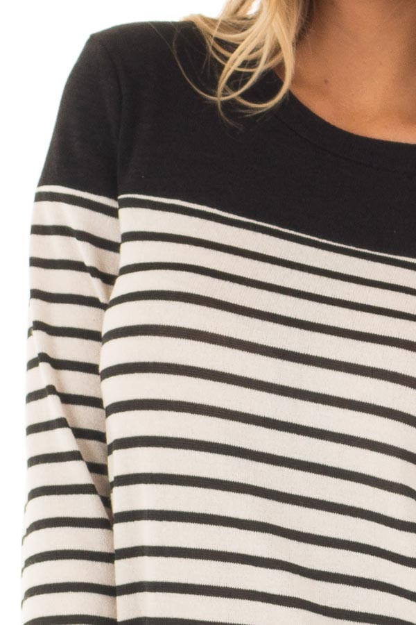 Black and Off White Striped Top with Black Color Block front detail
