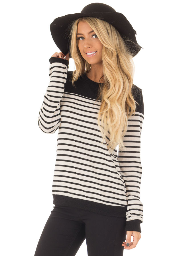 Black and Off White Striped Top with Black Color Block front closeup