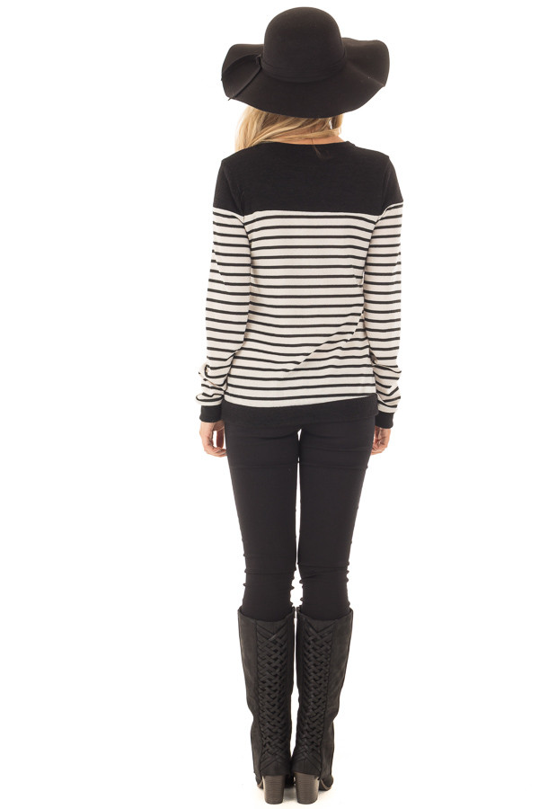 Black and Off White Striped Top with Black Color Block back full body