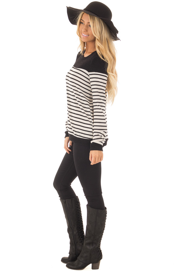 Black and Off White Striped Top with Black Color Block side full body