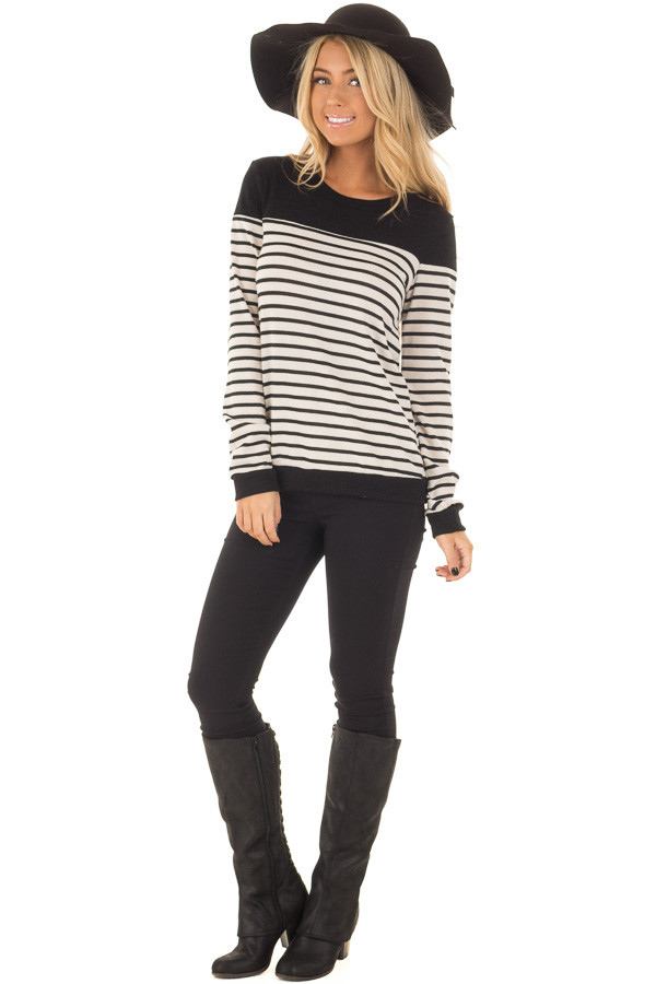 Black and Off White Striped Top with Black Color Block front full body