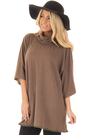 Mocha Short Sleeve Mock Neck Sweater with Side Slits front closeup