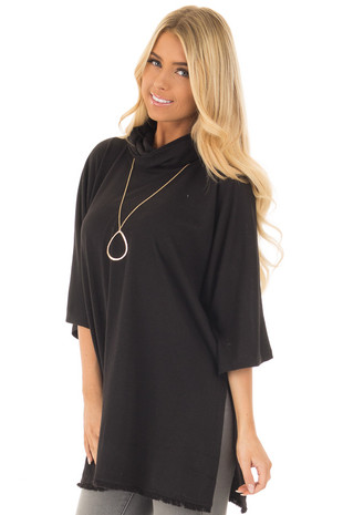 Black Short Sleeve Mock Neck Sweater with Side Slits front close up