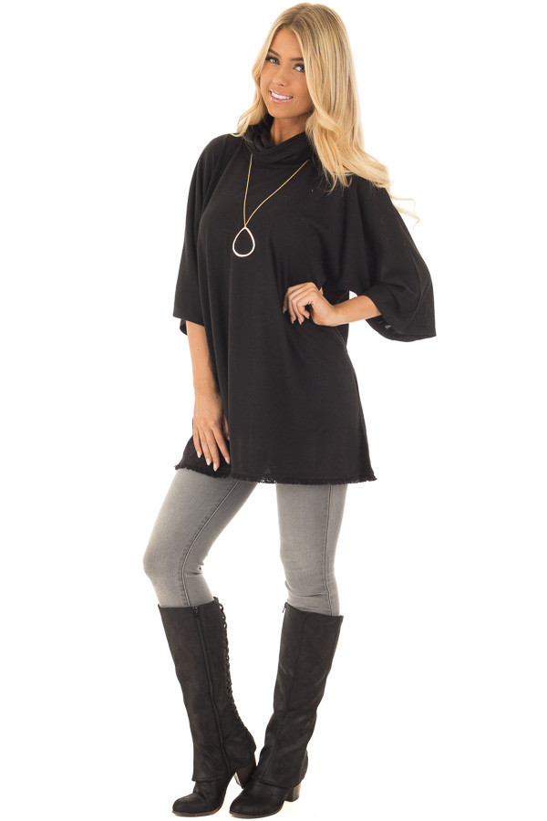 Black Short Sleeve Mock Neck Sweater with Side Slits front full body