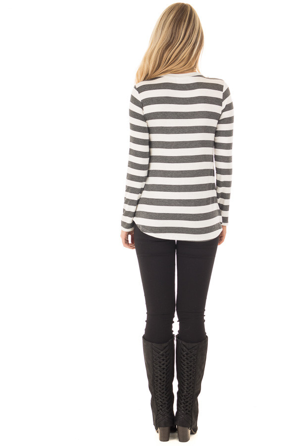 Charcoal Striped Deer Graphic Long Sleeve Top back full body