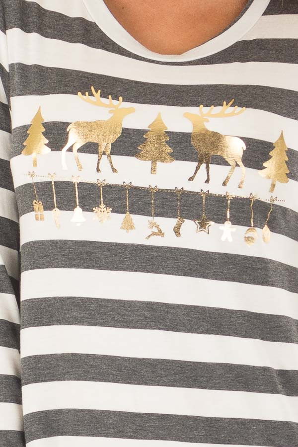 Charcoal Striped Deer Graphic Long Sleeve Top front detail