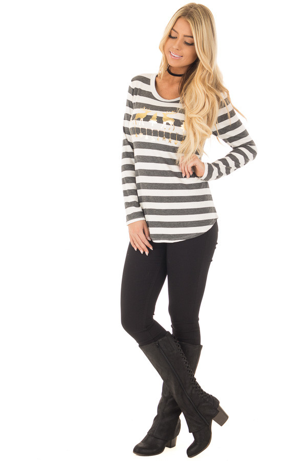 Charcoal Striped Deer Graphic Long Sleeve Top front full body