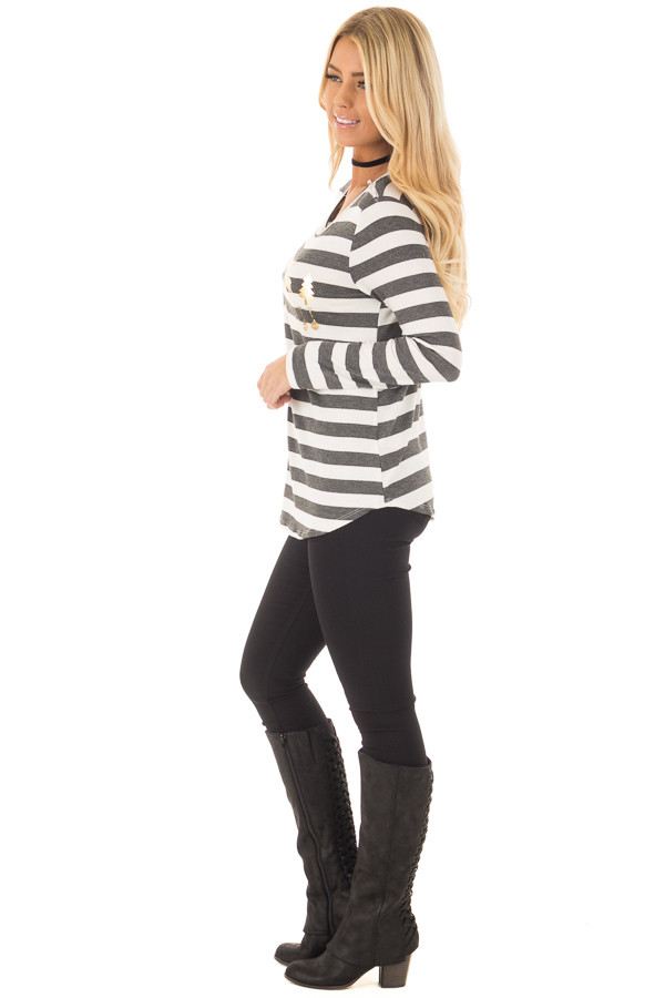 Charcoal Striped Deer Graphic Long Sleeve Top side full body