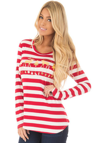 Red Striped Deer Graphic Long Sleeve Top front closeup