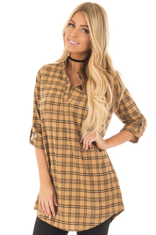 Mustard Plaid V Neck 3/4 Sleeve Tunic Top front closeup