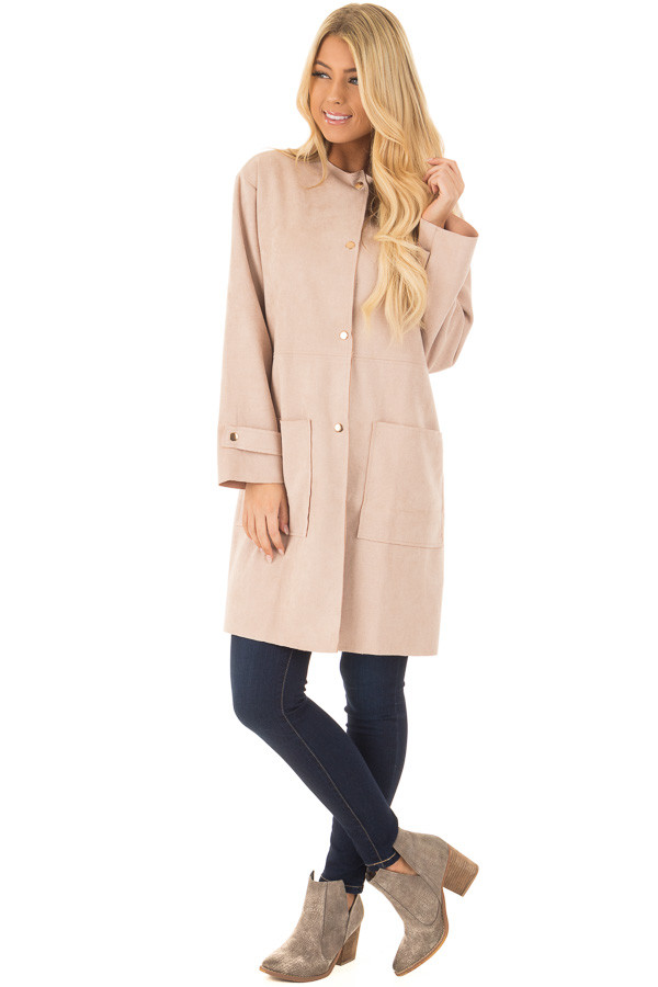Blush Faux Suede Long Coat with Pockets front full body