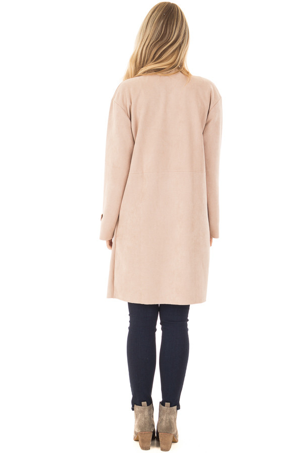 Blush Faux Suede Long Coat with Pockets back full body