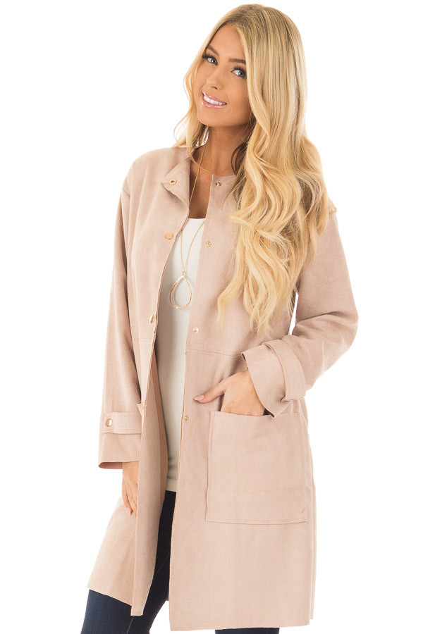 Blush Faux Suede Long Coat with Pockets front closeup