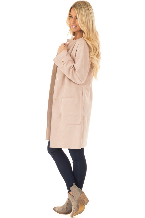 Blush Faux Suede Long Coat with Pockets side full body