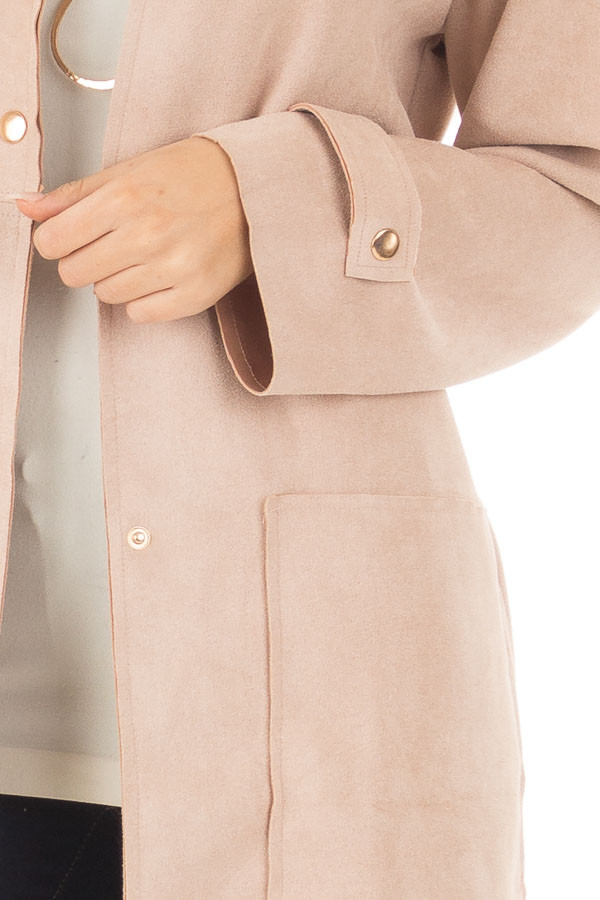 Blush Faux Suede Long Coat with Pockets front detail