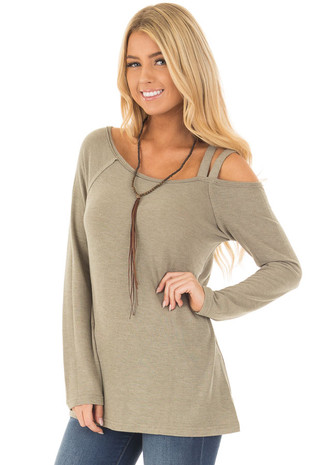 Olive Long Sleeve Top with Double Strap Cold Shoulder front closeup