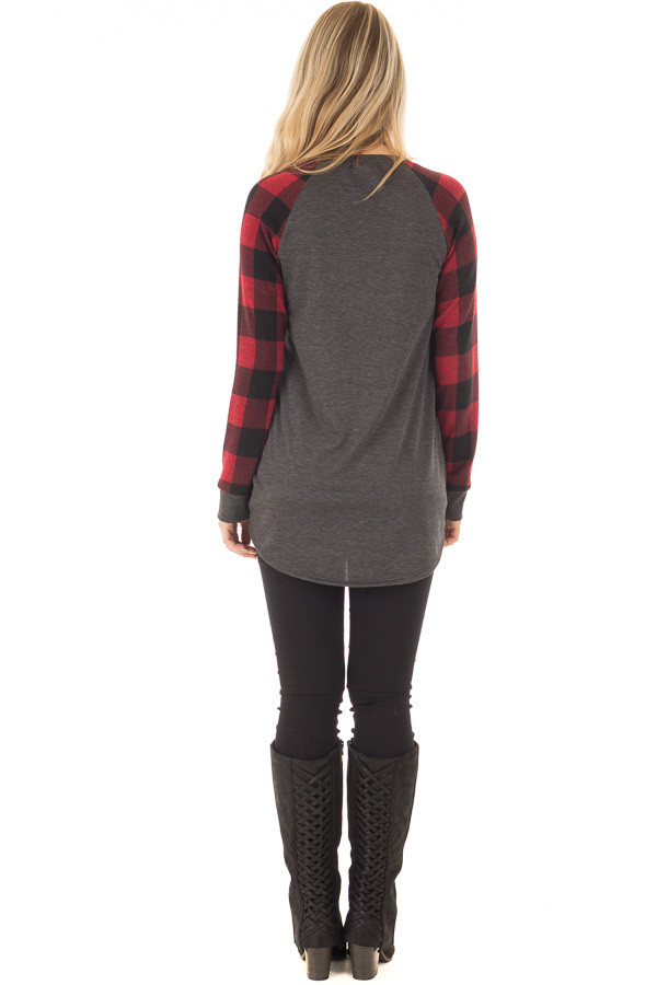 Charcoal and Red Tee with Plaid Long Sleeves back full body