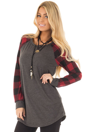Charcoal and Red Tee with Plaid Long Sleeves front close up