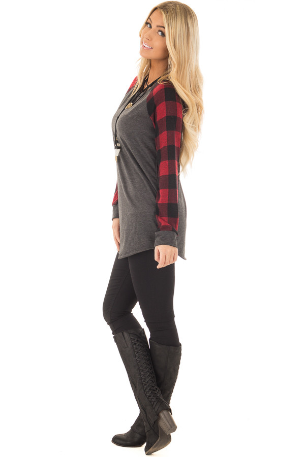 Charcoal and Red Tee with Plaid Long Sleeves side full body