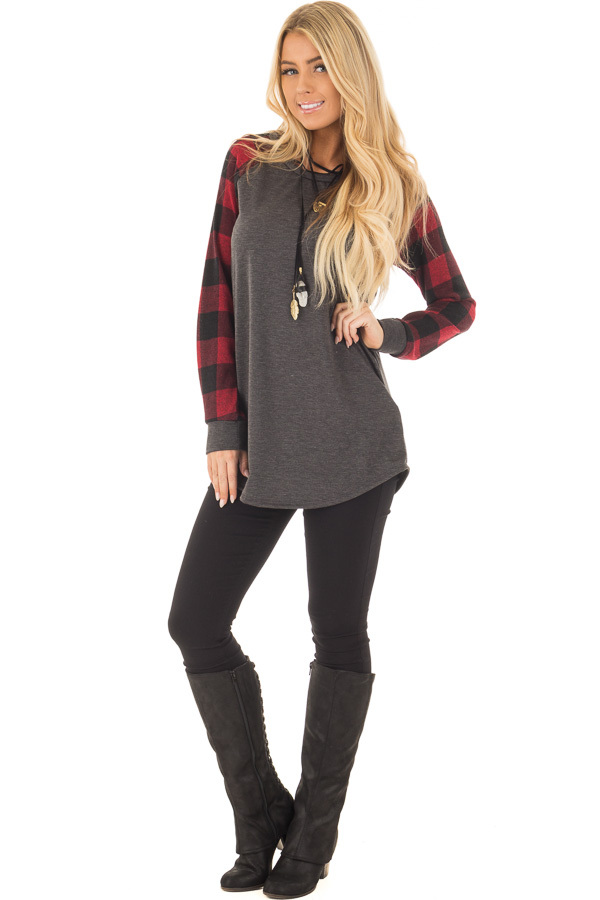Charcoal and Red Tee with Plaid Long Sleeves front full body