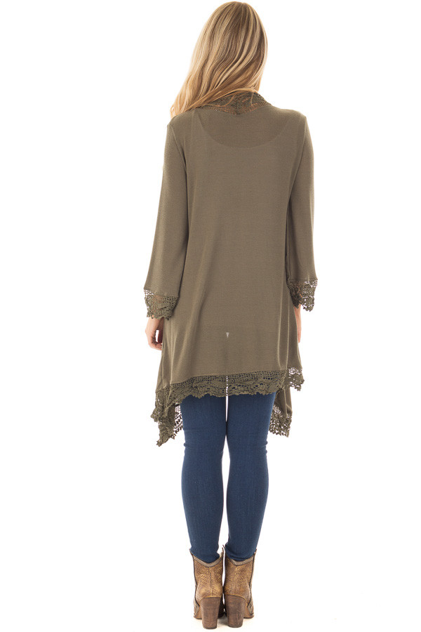 Olive 3/4 Sleeve Cardigan with Lace Trimmed Detail back full body