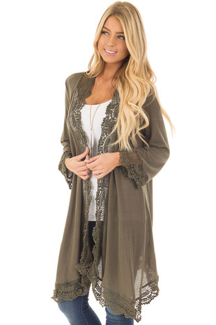 Olive 3/4 Sleeve Cardigan with Lace Trimmed Detail front closeup