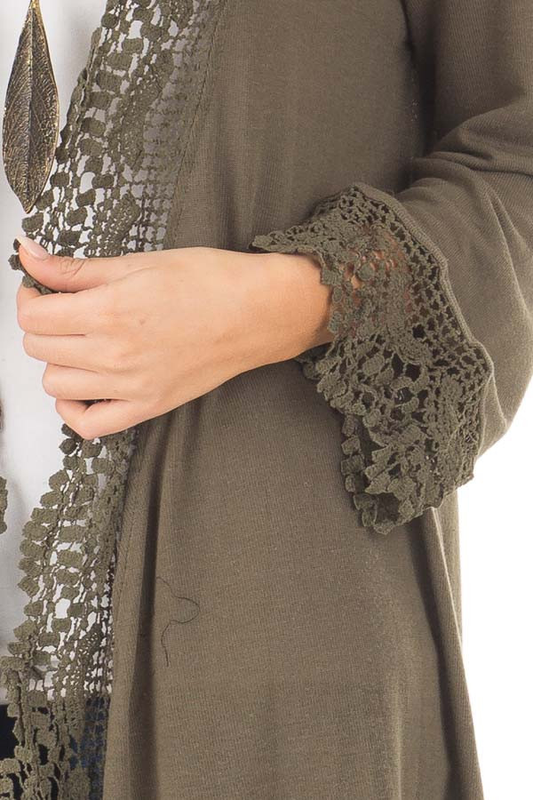 Olive 3/4 Sleeve Cardigan with Lace Trimmed Detail front detail