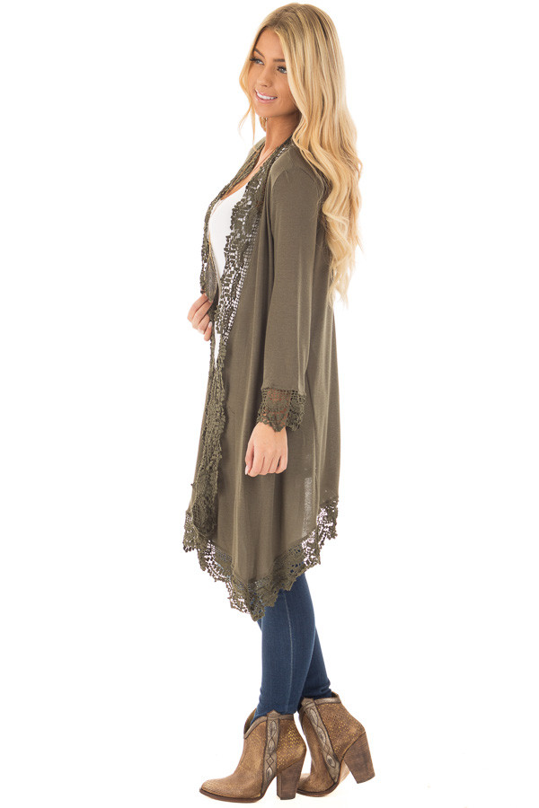 Olive 3/4 Sleeve Cardigan with Lace Trimmed Detail side full body