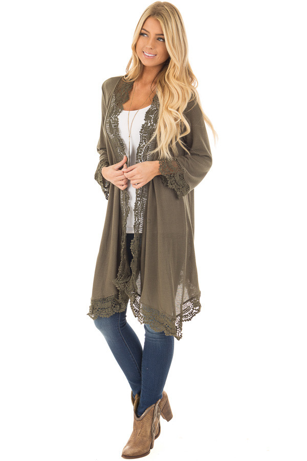 Olive 3/4 Sleeve Cardigan with Lace Trimmed Detail front full body