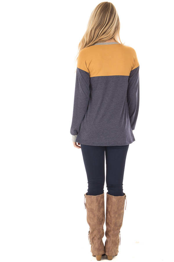 Mustard and Navy Color Block Long Sleeve Top back full body