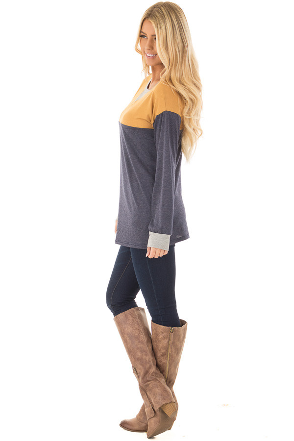 Mustard and Navy Color Block Long Sleeve Top side full body
