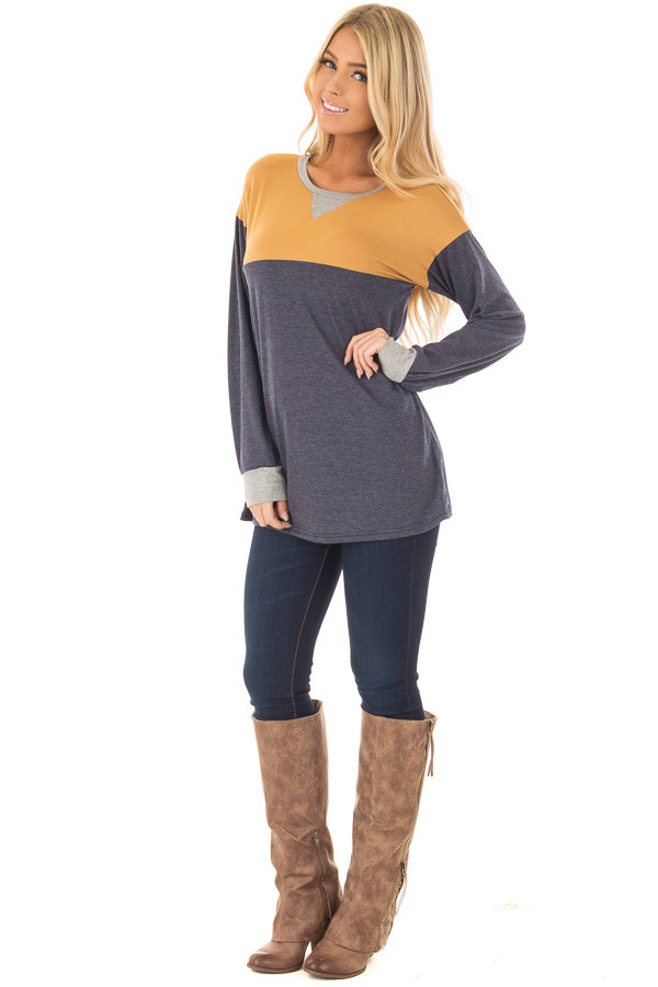 Mustard and Navy Color Block Long Sleeve Top front full body