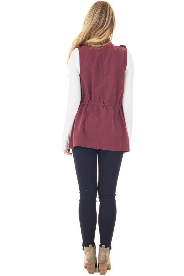 Wine Zip Up Button Vest with Draw String and Pockets back full body