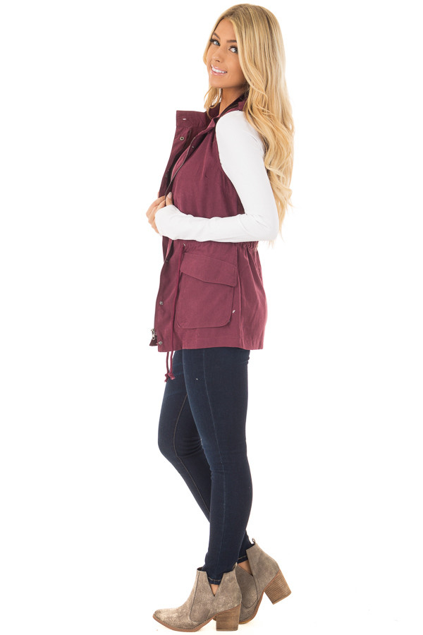 Wine Zip Up Button Vest with Draw String and Pockets side full body