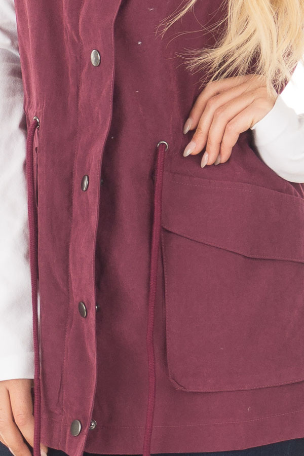 Wine Zip Up Button Vest with Draw String and Pockets front detail