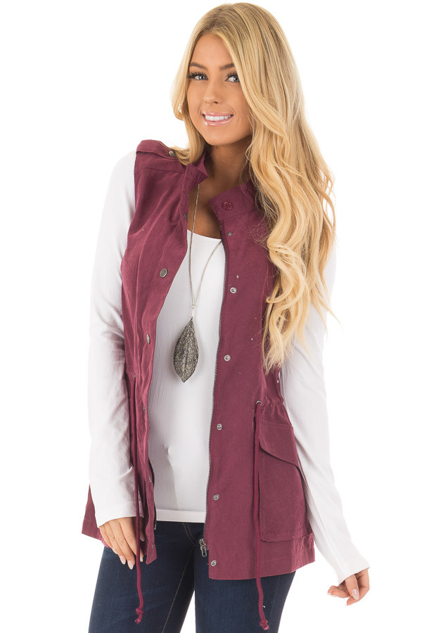 Wine Zip Up Button Vest with Draw String and Pockets front closeup