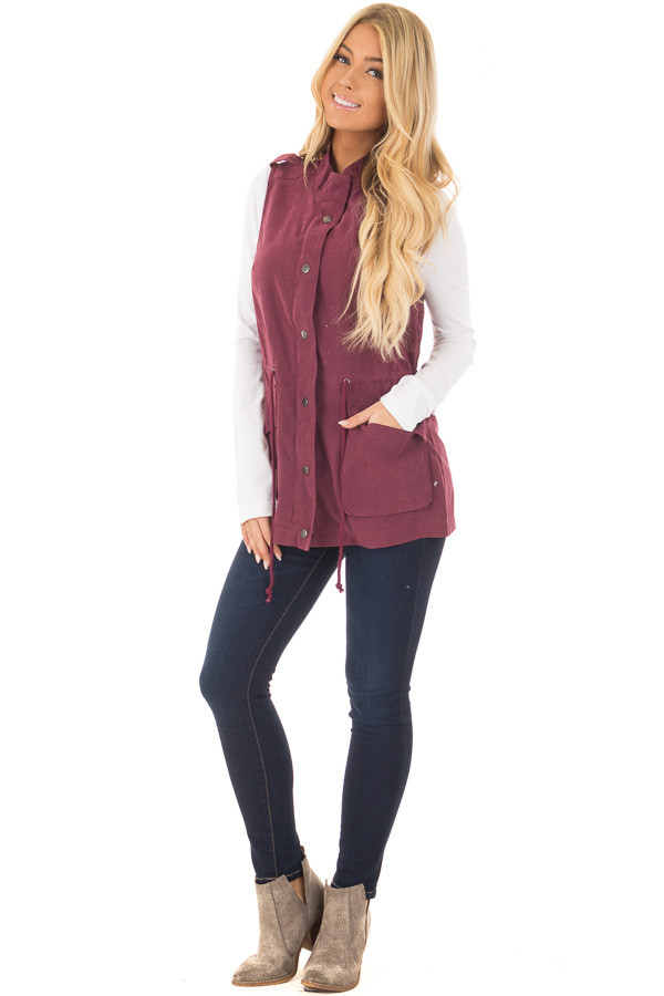 Wine Zip Up Button Vest with Draw String and Pockets front full body