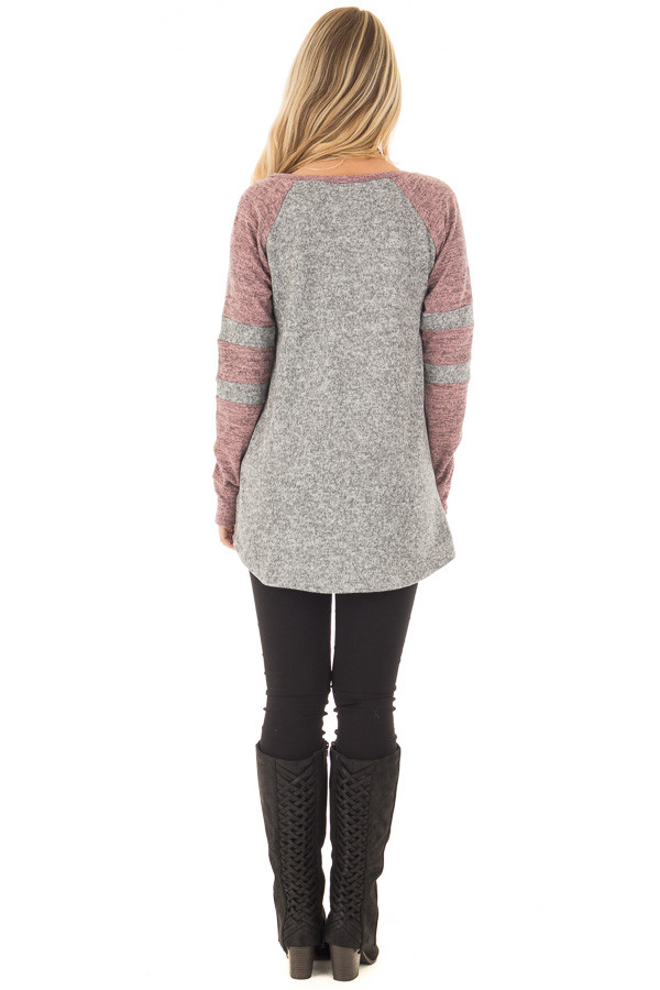 Heather Grey and Mauve Long Sleeve Top back full body