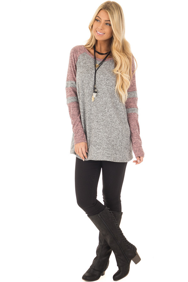 Heather Grey and Mauve Long Sleeve Top front full body