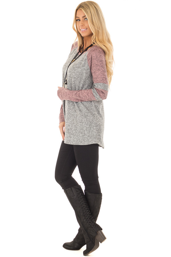 Heather Grey and Mauve Long Sleeve Top side full body