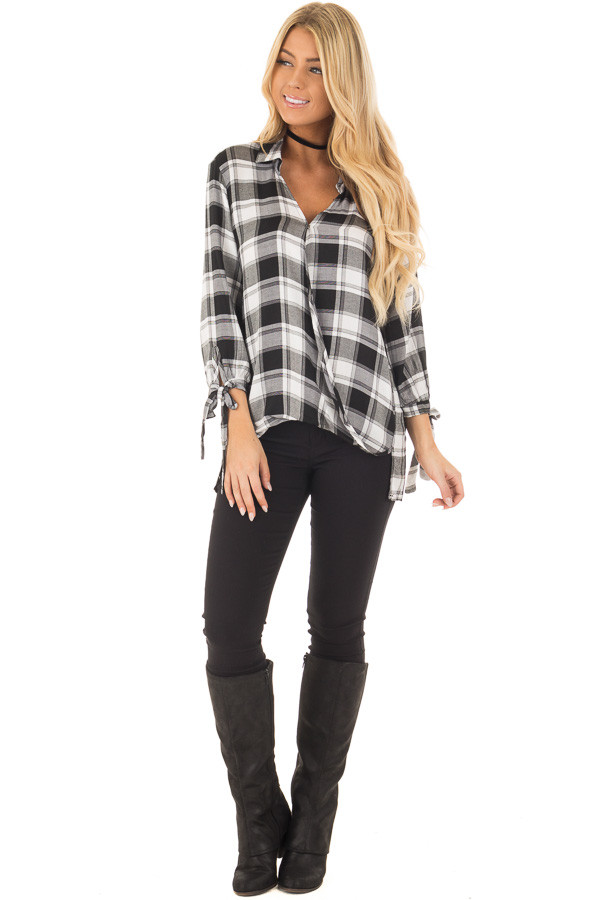 Black and White Plaid Hi Low Top with Sleeve Tie Details front full body