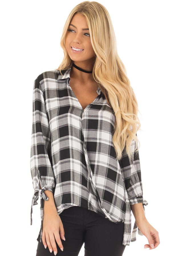 Black and White Plaid Hi Low Top with Sleeve Tie Details front closeup