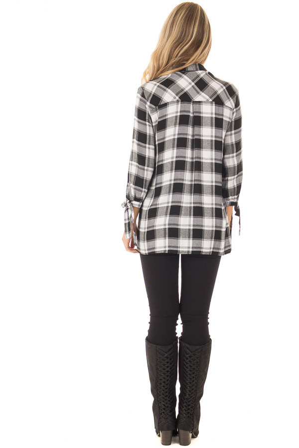 Black and White Plaid Hi Low Top with Sleeve Tie Details back full body